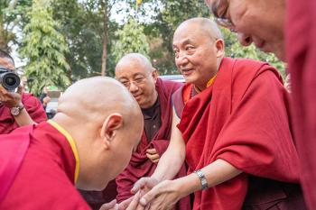 His Eminence Goshir Gyaltsap Rinpoche arrives at Tergar Monastery